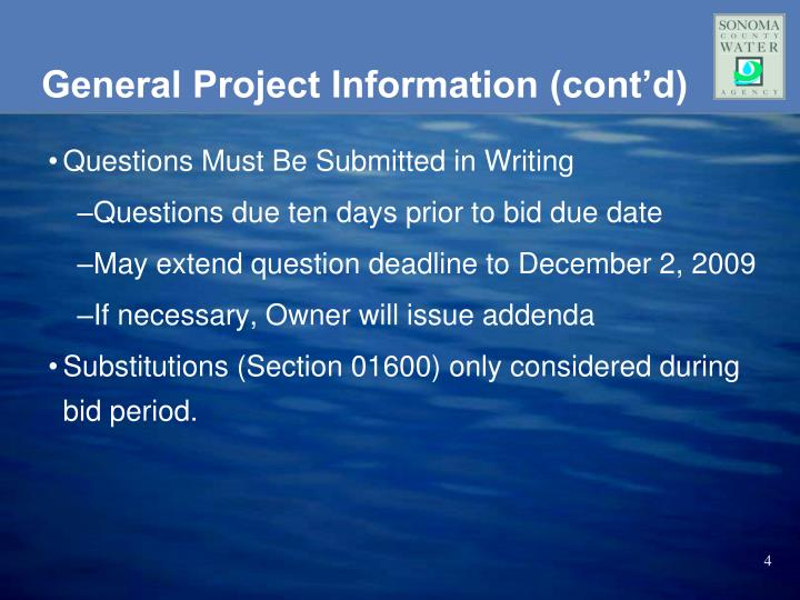 General Project Information (cont'd)