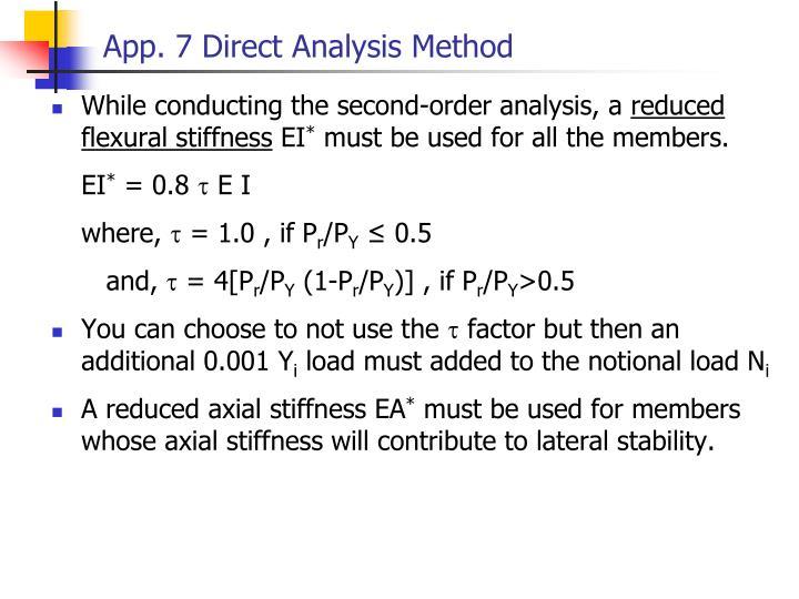 App. 7 Direct Analysis Method