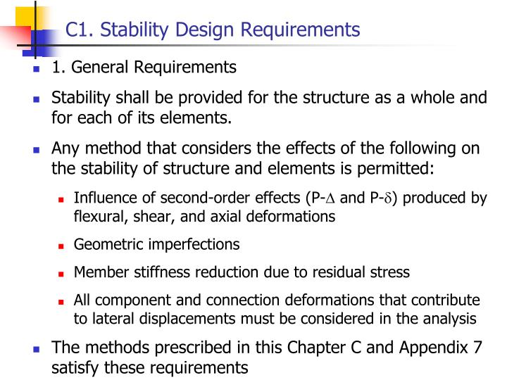 C1. Stability Design Requirements