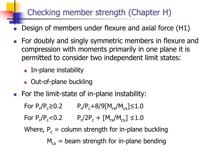 Checking member strength (Chapter H)