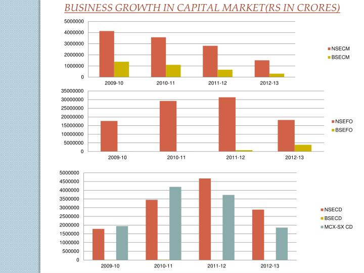 BUSINESS GROWTH IN CAPITAL MARKET(RS IN CRORES)