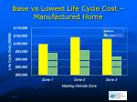base vs lowest life cycle cost manufactured home