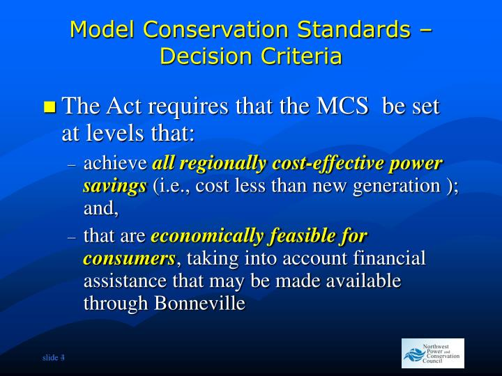 Model Conservation Standards – Decision Criteria