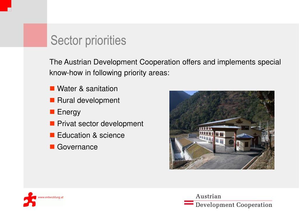 Sector priorities