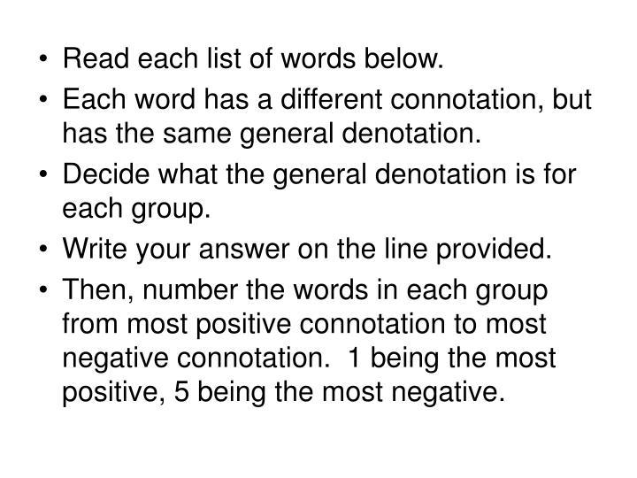 Read each list of words below.