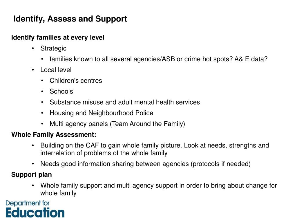 Identify, Assess and Support