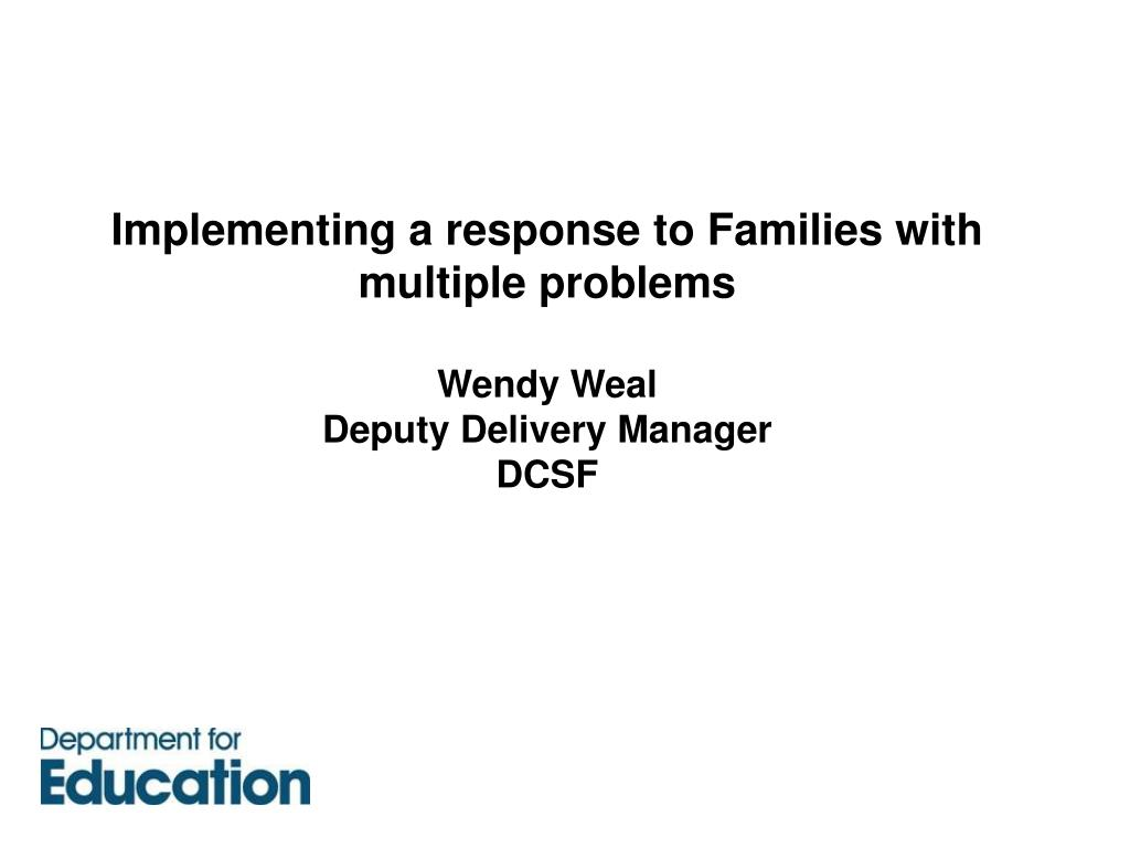 Implementing a response to Families with multiple problems