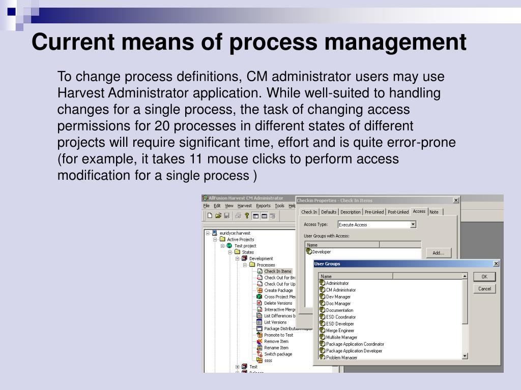 Current means of process management