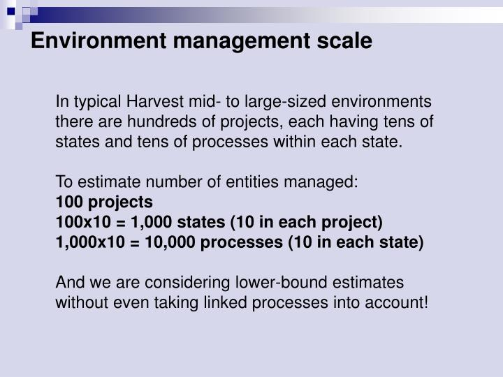 Environment management scale
