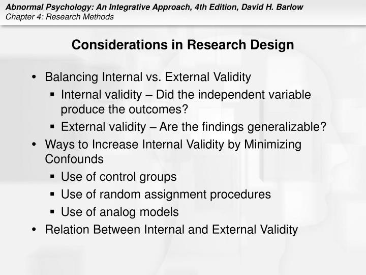 Considerations in Research Design