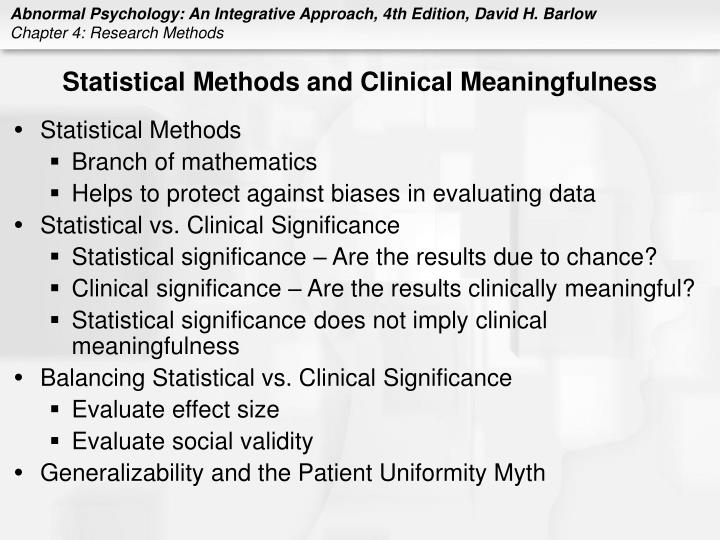 Statistical Methods and Clinical Meaningfulness