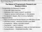 the nature of programmatic research and research ethics