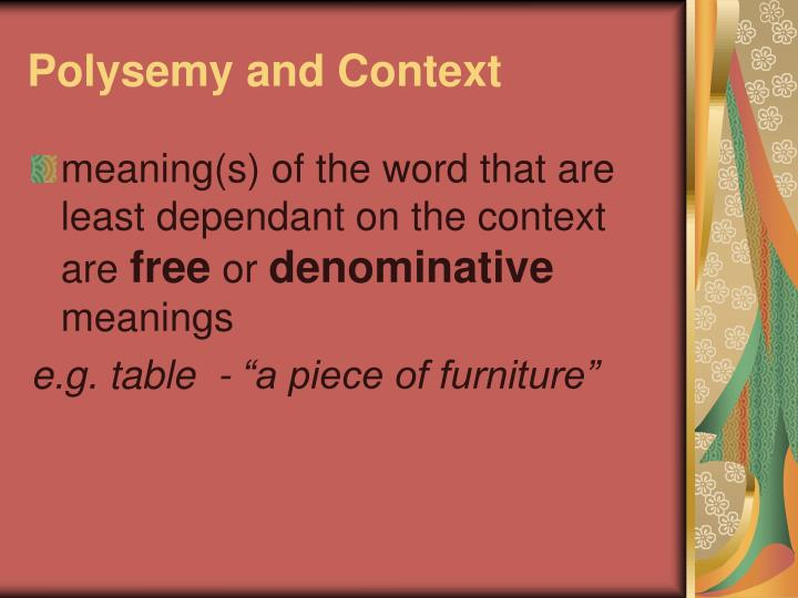 Polysemy and Context