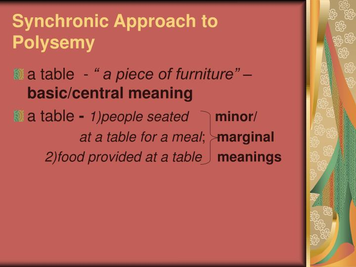 Synchronic Approach to Polysemy