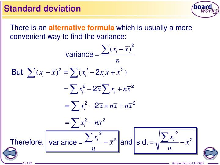 how to find standard deviation of a sample mean