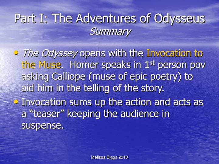 Part i the adventures of odysseus summary