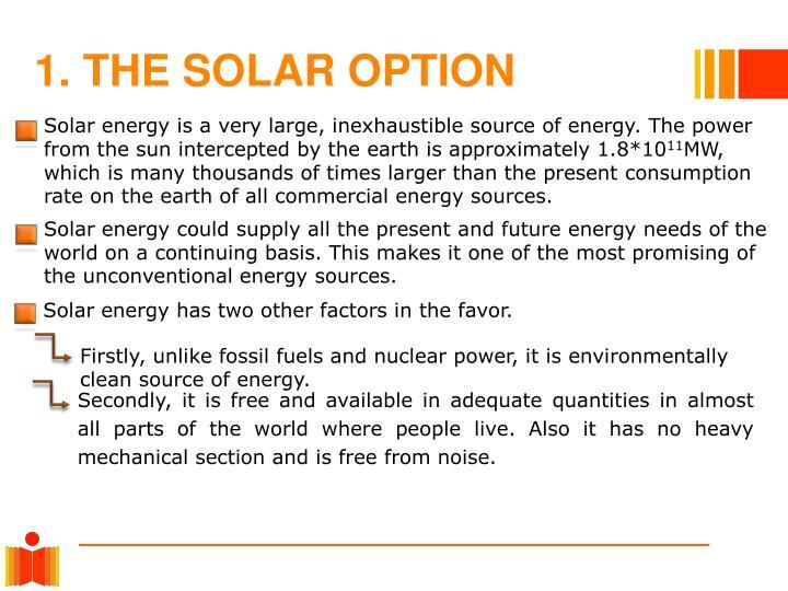 1. THE SOLAR OPTION