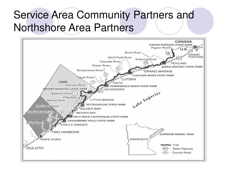 Service area community partners and northshore area partners