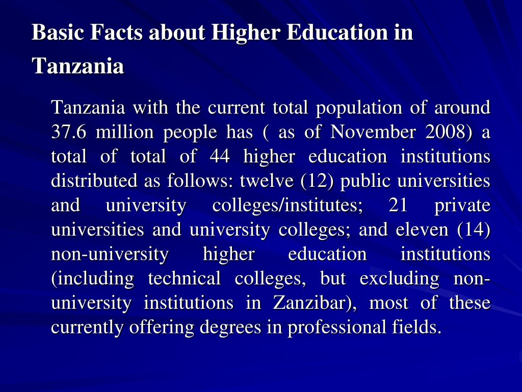Basic Facts about Higher Education in Tanzania
