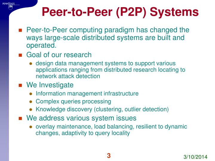 Peer to peer p2p systems
