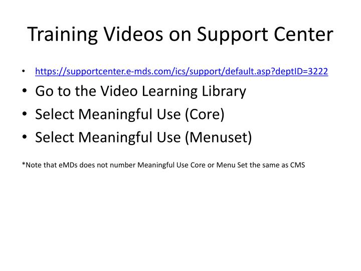 Training Videos on Support Center