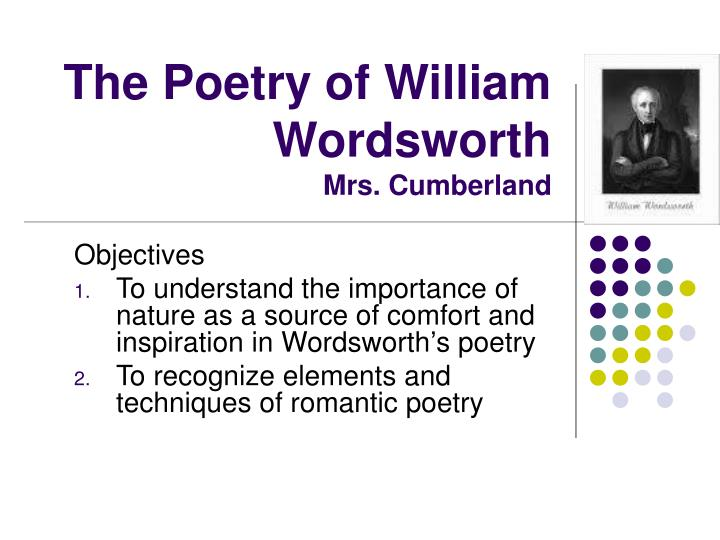 The poetry of william wordsworth mrs cumberland