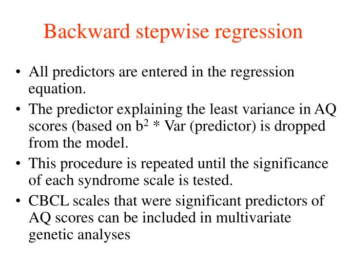 Backward stepwise regression