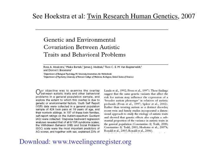 See Hoekstra et al: