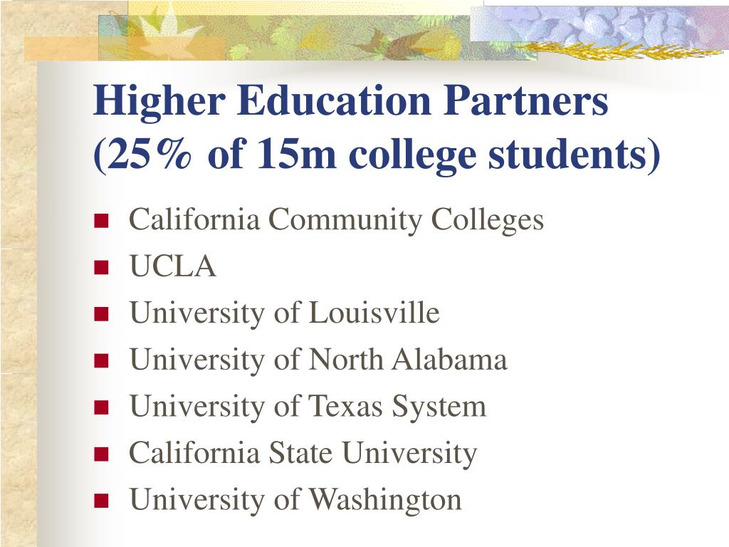Higher Education Partners (25% of 15m college students)