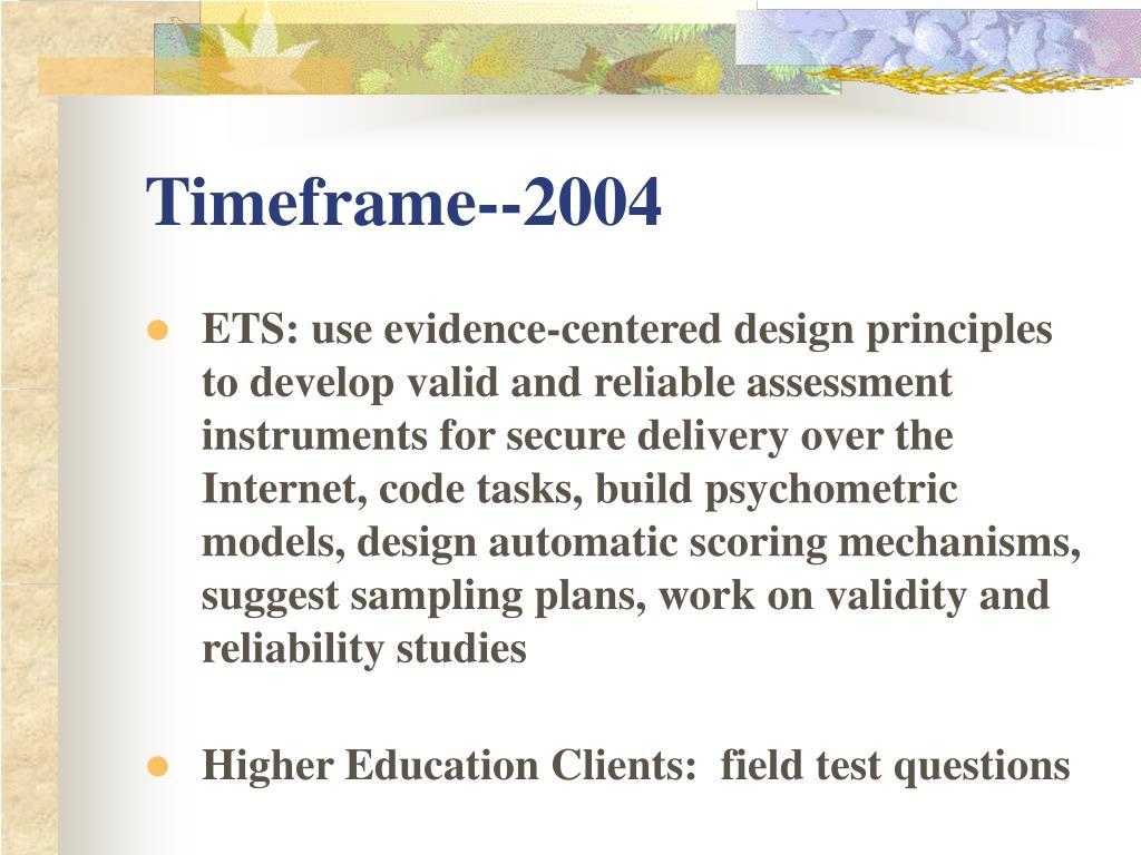 Timeframe--2004