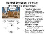 natural selection the major driving force of evolution