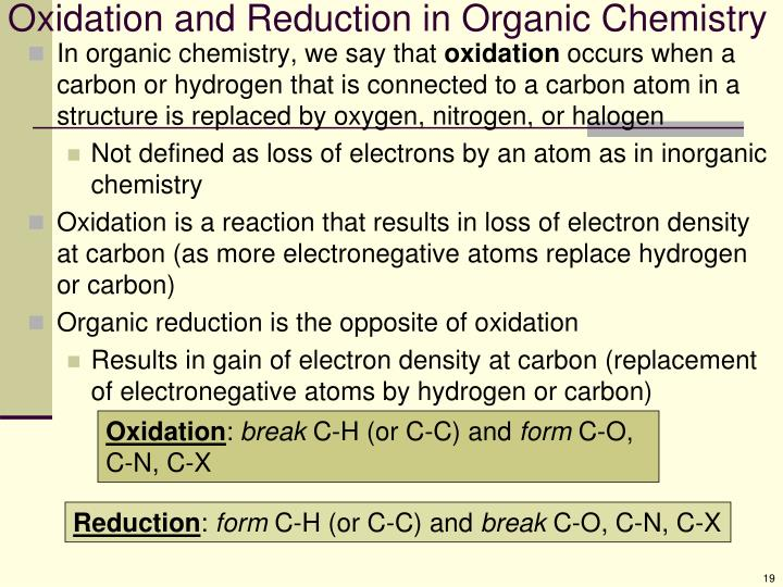 Oxidation and Reduction in Organic Chemistry