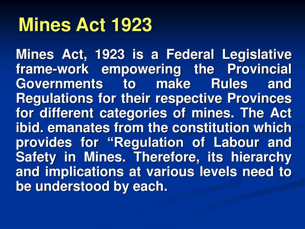 Mines Act 1923