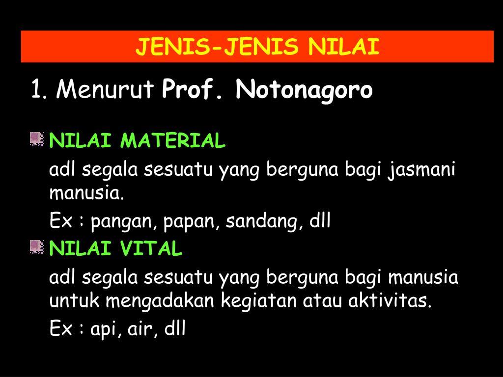 JENIS-JENIS NILAI