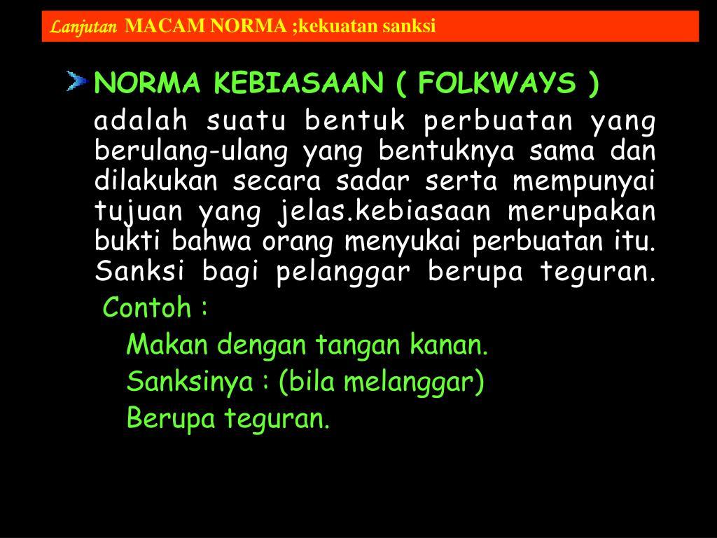 NORMA KEBIASAAN ( FOLKWAYS )
