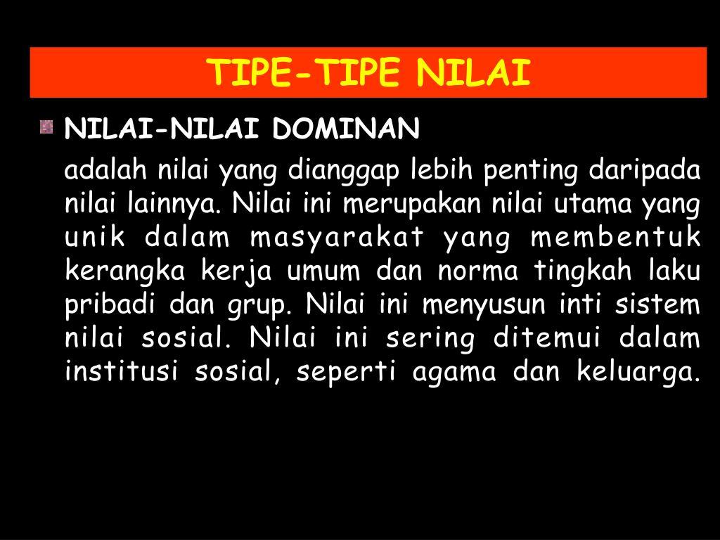 TIPE-TIPE NILAI