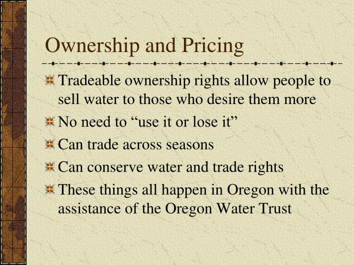 Ownership and Pricing