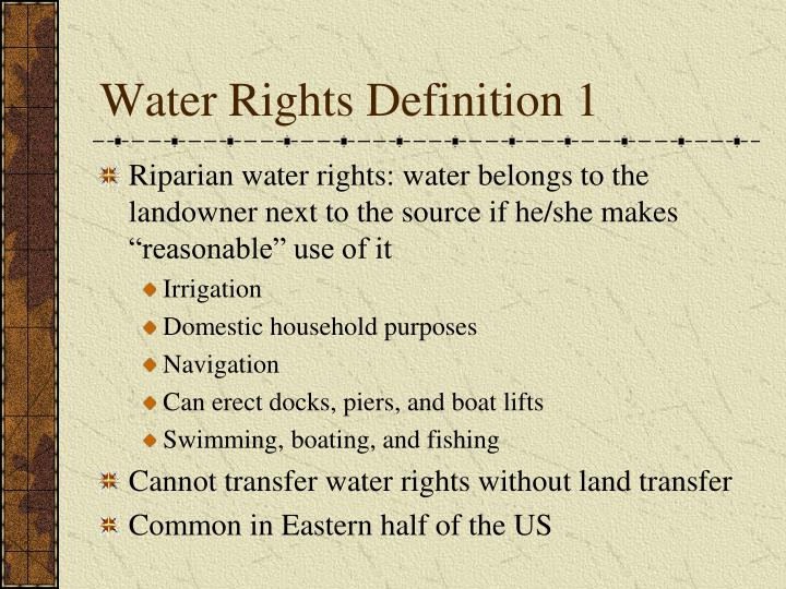 Water Rights Definition 1
