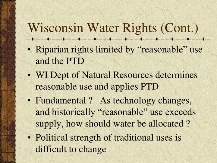 Wisconsin Water Rights (Cont.)