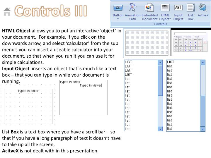 Controls III