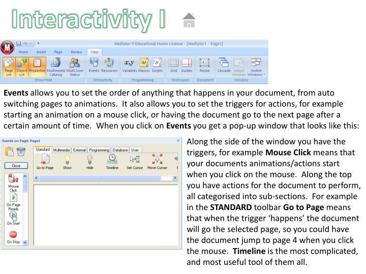 Interactivity I