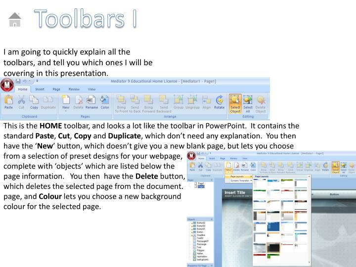 Toolbars I