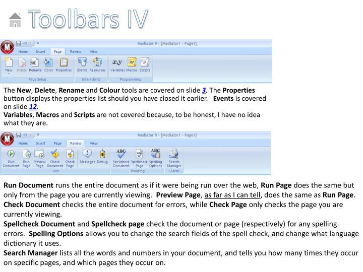 Toolbars IV