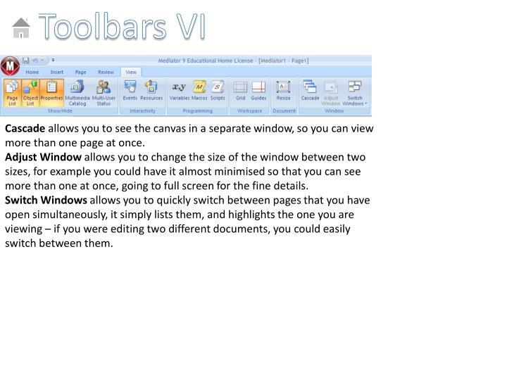 Toolbars VI