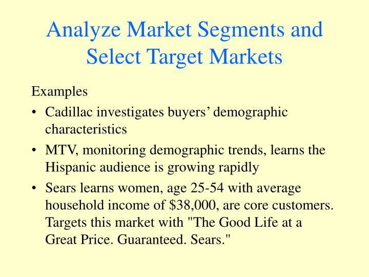 Analyze Market Segments and Select Target Markets