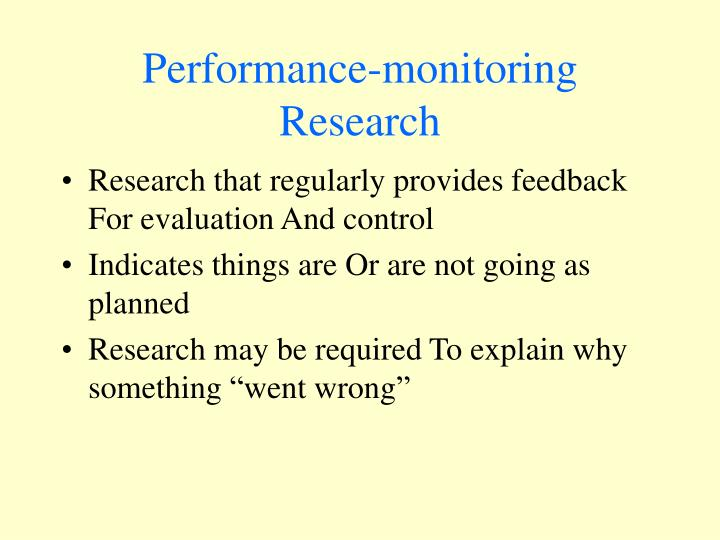 Performance-monitoring Research