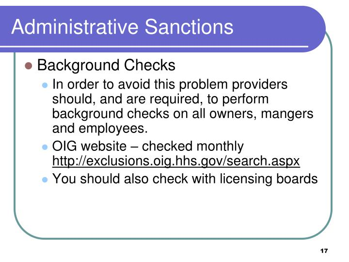 Administrative Sanctions