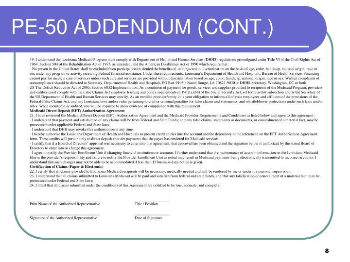 PE-50 ADDENDUM (CONT.)