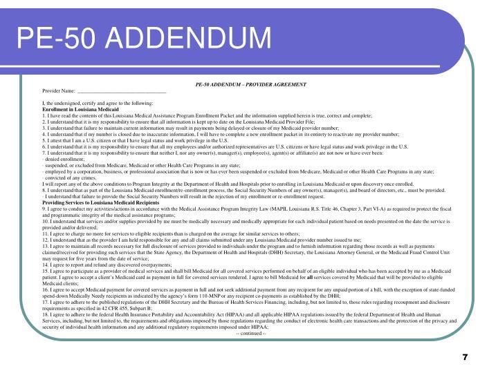 PE-50 ADDENDUM