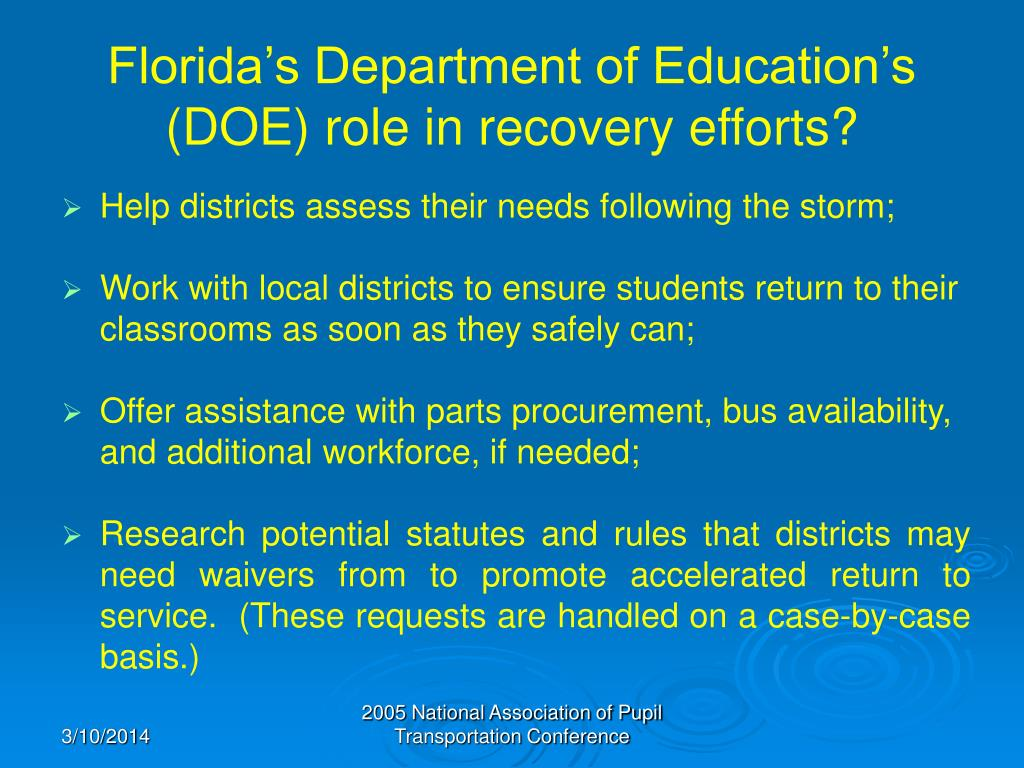 Florida's Department of Education's (DOE) role in recovery efforts?